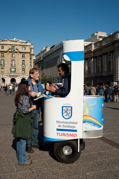 Tourist information comes to you in Santiago.  Inside this mobile booth is a Segway personal transporter.