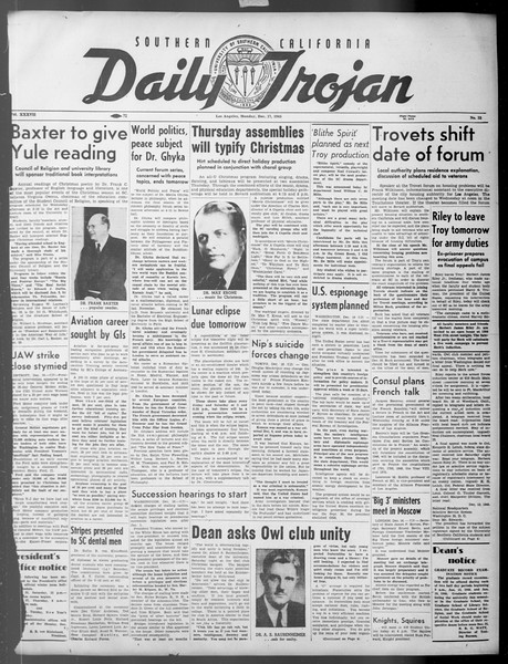 Daily Trojan, Vol. 37, No. 32, December 17, 1945
