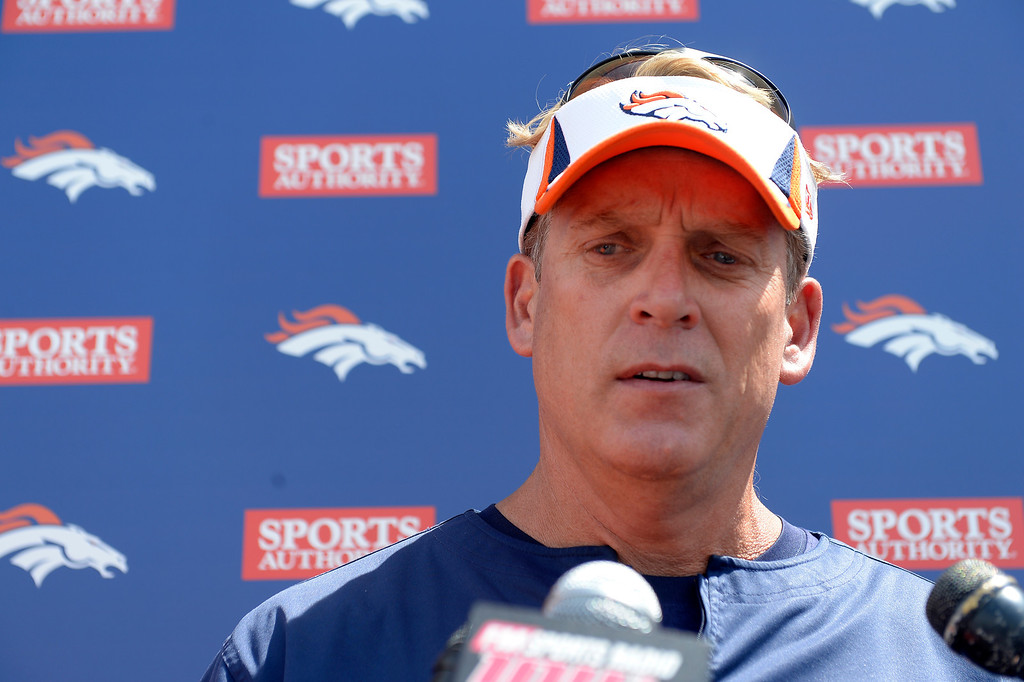 . Denver Broncos defensive coordinator Jack Del Rio talks with the media after practice August 23, 2013 at Dove Valley (Photo by John Leyba/The Denver Post)