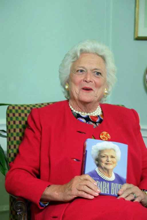 . Former first lady Barbara Bush responds during an AP interview in her suite on Sept. 13, 1994 at the Waldorf Astoria Hotel in New York. The  interview is in connection with her published book.  (AP Photo/Marty Lederhandler)