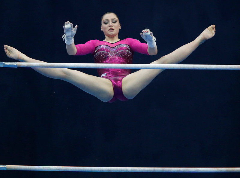 . Russia\'s Aliya Mustafina competes on the uneven bars during the women\'s apparatus finals at the European Men\'s and Women\'s Artistic Gymnastic individual Championships in Moscow April 20, 2013.  REUTERS/Grigory Dukor