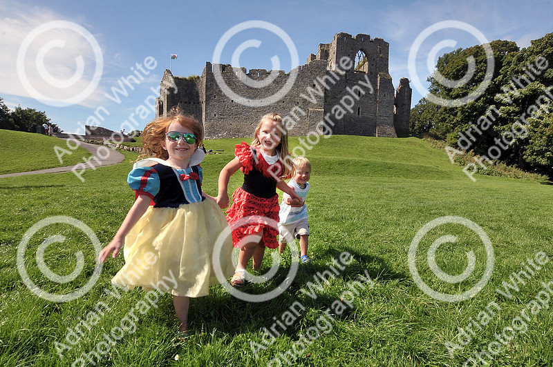 Princess Day at Oystermouth Castle, Mumbles. from left, Hallie Chapman aged 4 (correct) Isabelle Healings aged 4 and her brother William Healings aged 2