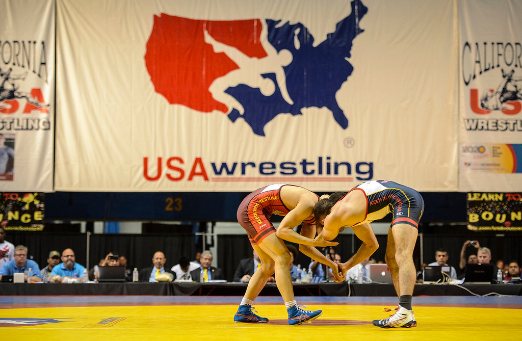 . USA vs Russia vs Canada dual meet at the Sports Arena Sunday.  Burroughs beat Khubetzhty in the first round.   Photo by David Crane/Los Angeles Daily News.
