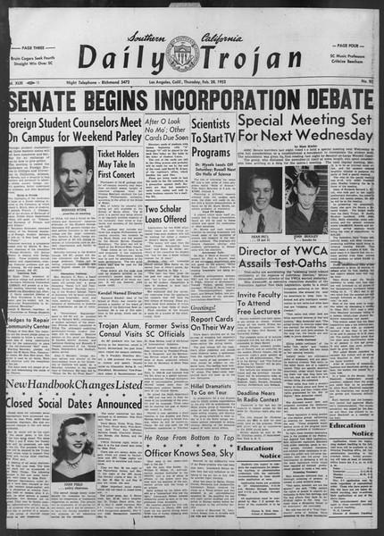 Daily Trojan, Vol. 43, No. 85, February 28, 1952