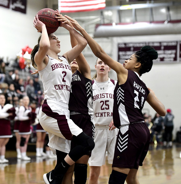 2/8/2019 Mike Orazzi | Staff Bristol Central's Allison Jessie (2) during Friday night's girls basketball game in Bristol.