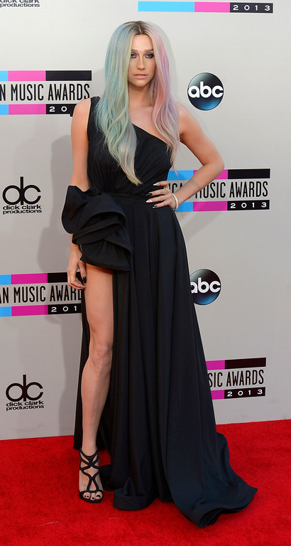 . Ke$ha arrives to the American Music Awards  at the Nokia Theatre in Los Angeles, California on Sunday November 24, 2013 (Photo by Andy Holzman / Los Angeles Daily News)