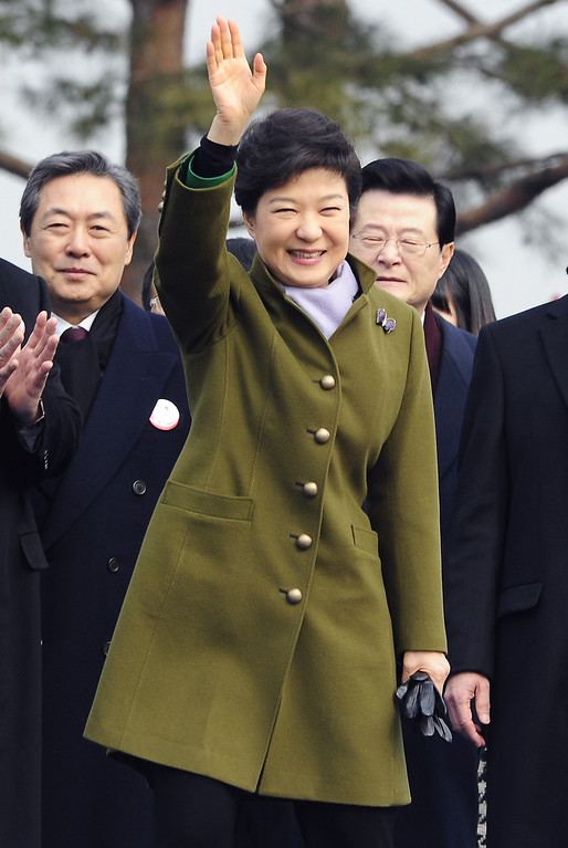 . Park Geun-Hye, South Korea\'s president waves hand during her inauguration ceremony in the National Assembly on February 25, 2013 in Seoul, South Korea.  (Photo by Song Kyung-Seok-Pool/Getty Images)