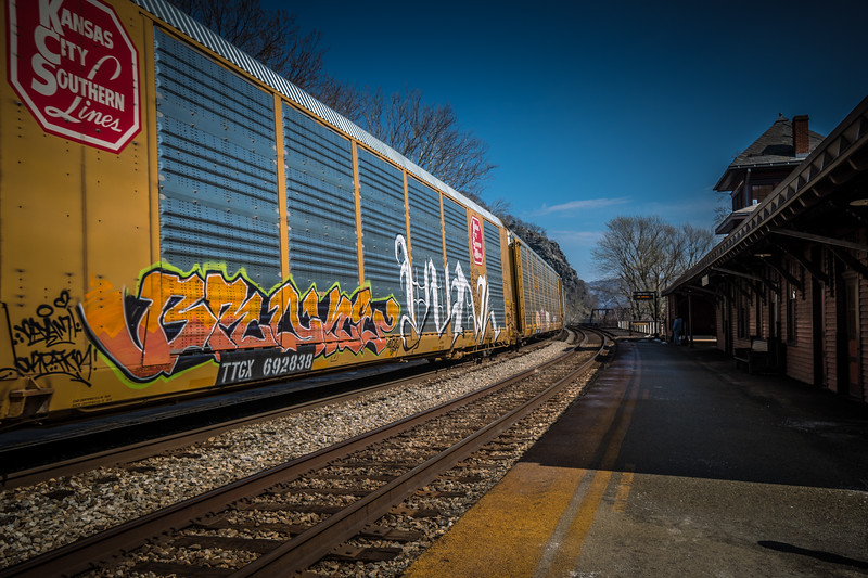 Harper's Ferry WV - Train Station and Freight Train with Graffiti.
