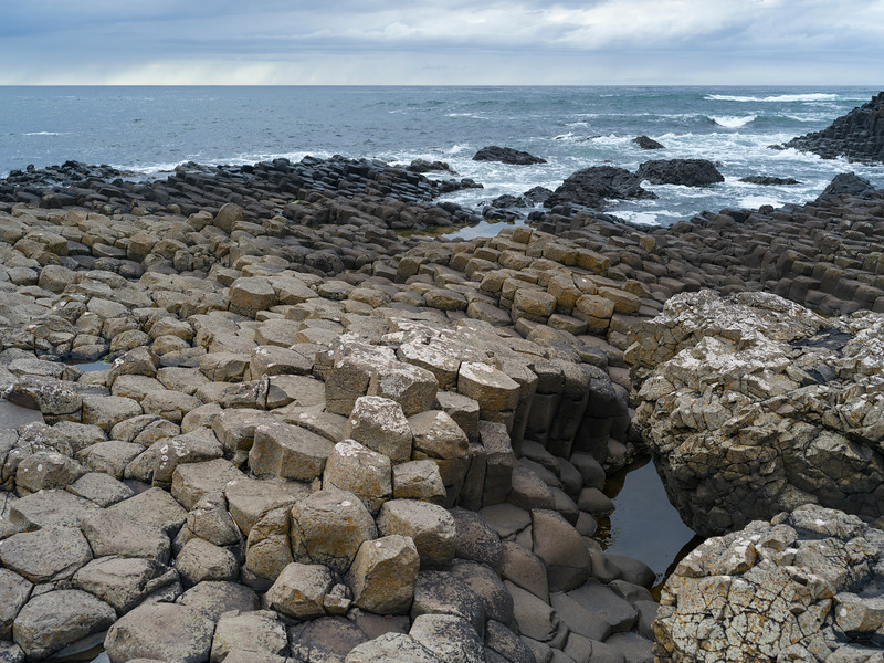 Rock formations on the coast, Giant's Causeway, County Antrim, Northern Ireland, Ireland