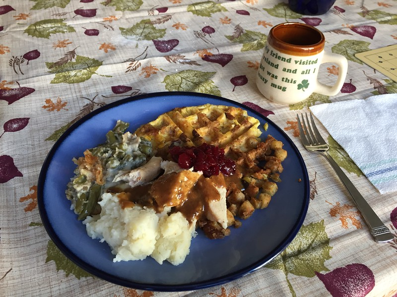 Next day's breakfast waffles made from stuffing and corn casserole.