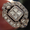 Art Deco Inspired Princess Cut Diamond Halo Ring 18