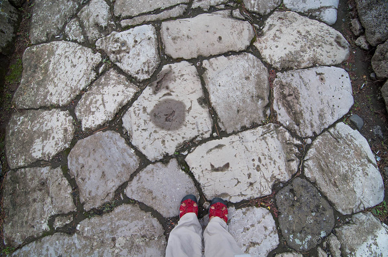 Walking on the 2,000 year old cobble stone street