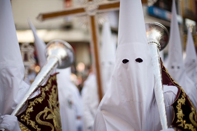Group of hooded penitents, Palm Sunday, Seville, Spain