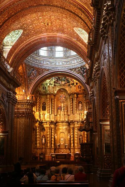 La Compania de Jesus church with gold leaf in Quito.