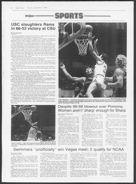 Daily Trojan, Vol. 100, No. 63, December 09, 1985