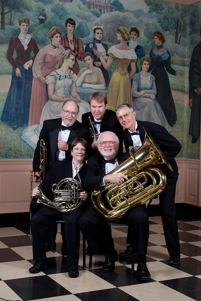 "Homewood Brass Quintet, shown at Shriver Hall in front of the ""Beautiful Ladies of Baltimore"" painting on the Homewood campus, The Johns Hopkins University"