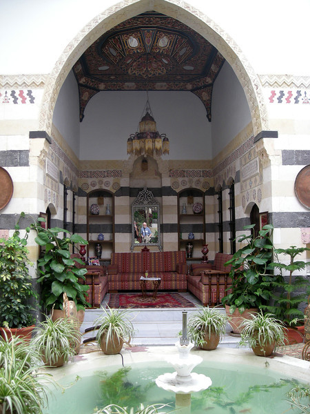 a sitting space open to the courtyard in Beit Nassan in old Damascus