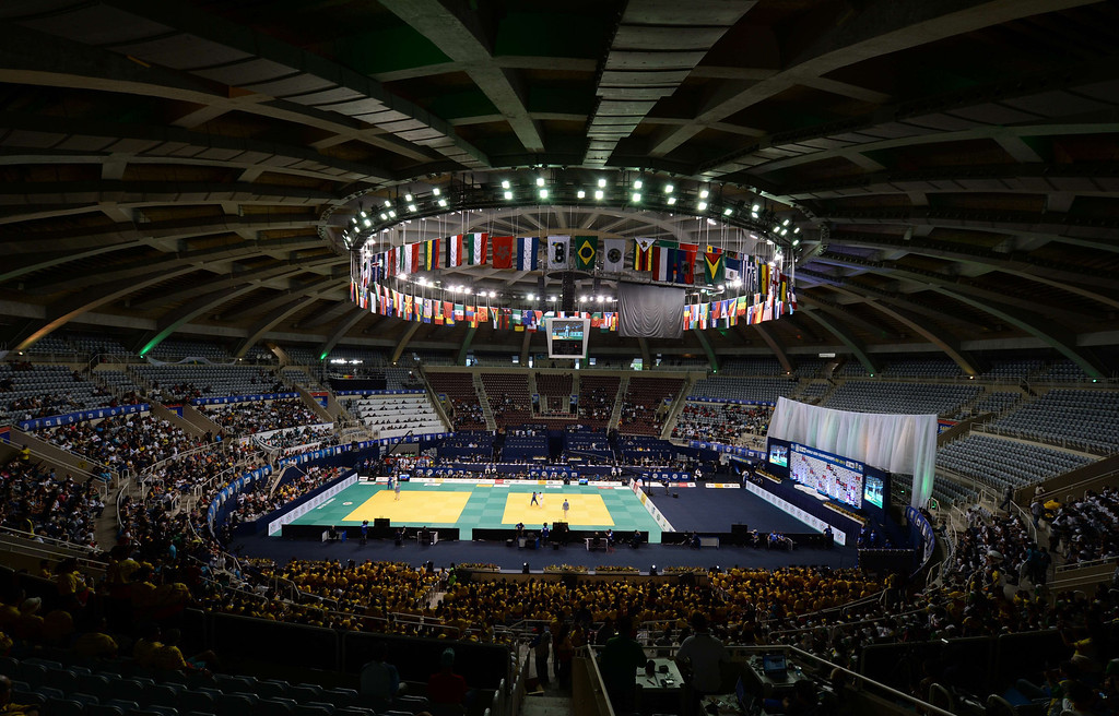 . Inside view of the Maracanazinho stadium in Rio de Janeiro in which takes place the IJF World Judo Championship on August 29, 2013.  VANDERLEI ALMEIDA/AFP/Getty Images