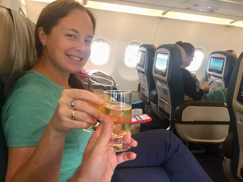 Business Class seats and champagne