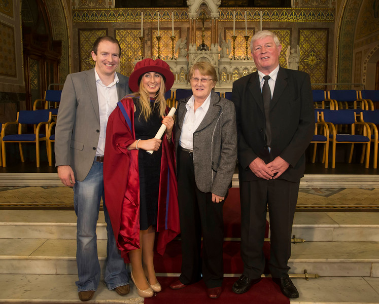 Pictured is Elaine Alyward, Mullinavat, Co. Kilkenny, who was conferred a Doctor of Philosophy, also pictured is Jonathan Johnston, Patrick and Eileen Alyward. Picture: Patrick Browne.