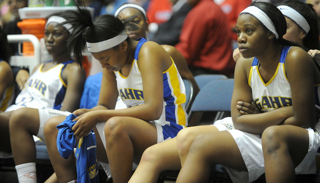 . 02-27-2012--(LANG Staff Photo by Sean Hiller)- The Gahr bench reacts after Agoura defeated Gahr 60-39 in Wednesday\'s girls basketball D3AAA title game at Anaheim Arena.