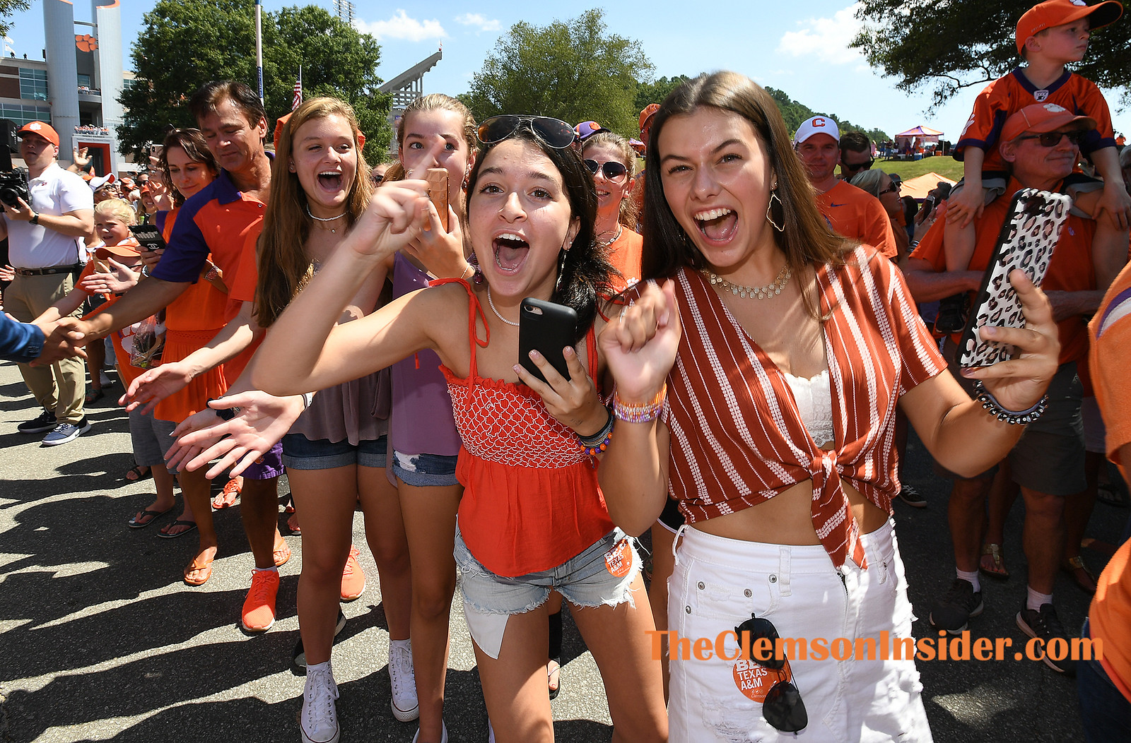 Clemson players and fans take part in the teams Tiger Walk before the Tigers' game against Texas A&M Saturday, September 7, 2019 outside of Clemson's Memorial Stadium. Bart Boatwright/The Clemson Insider