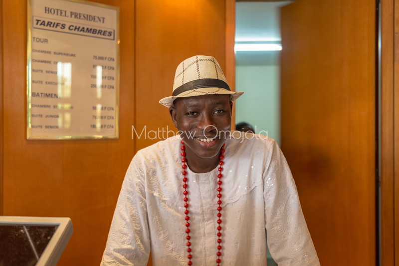 The best hotel manager in the world wearing Ivorian attire. Promoting culture.