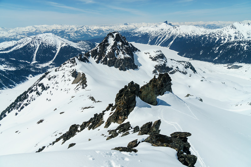 Looking out towards Garibaldi Lake from the top of Deception Peak near Whistler, British Columbia.