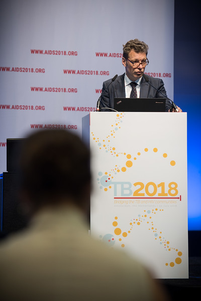 22nd International AIDS Conference (AIDS 2018) Amsterdam, Netherlands   Copyright: Marcus Rose/IAS  Photo shows: TB 2018: Bridging the TB and HIV Communities. Welcome to Amsterdam Frank Cobelens, Amsterdam Institute for Global Health and Development, Netherlands