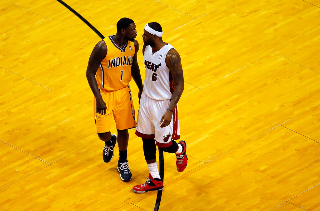 . MIAMI, FL - MAY 30:  LeBron James #6 of the Miami Heat and Lance Stephenson #1 of the Indiana Pacers match up during Game Six of the Eastern Conference Finals of the 2014 NBA Playoffs at American Airlines Arena on May 30, 2014 in Miami, Florida.  (Photo by Chris Trotman/Getty Images)