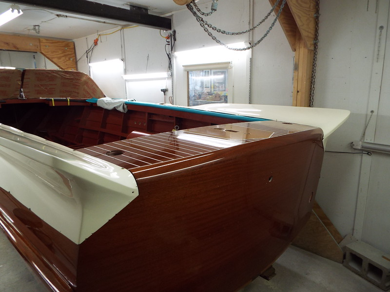 Transom view of the rear fins installed.