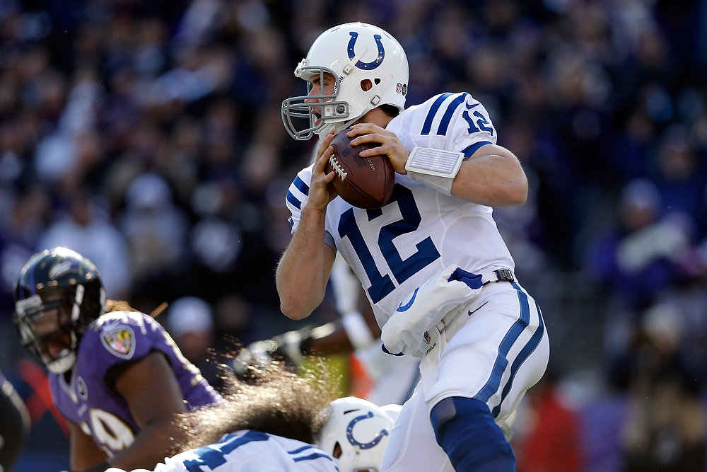 . Andrew Luck #12 of the Indianapolis Colts runs with the ball in the first quarter against the Baltimore Ravens during the AFC Wild Card Playoff Game at M&T Bank Stadium on January 6, 2013 in Baltimore, Maryland.  (Photo by Rob Carr/Getty Images)