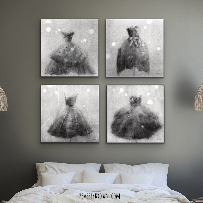 Contemporary woman's bedroom featuring a gallery wall of four black & white fashion art prints by Beverly Brown over the bed.