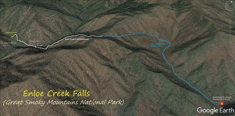 Enloe Creek Falls Hike Route Map