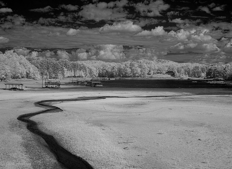 Lake Lanier, Gainesville, GA during a drought, in infrared