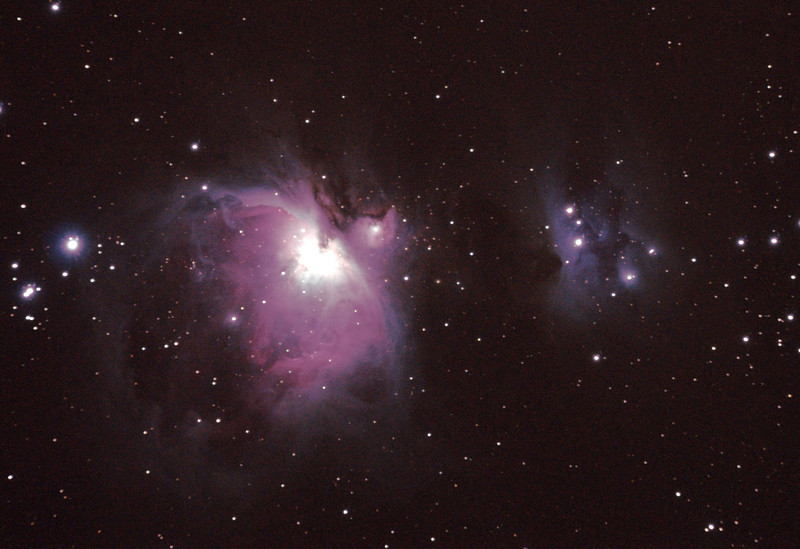 Messier M42 NGC1976 Orion Nebula & NGC1977 Running Man Nebula - 5/1/2011 at Mundaring Weir (Processed cropped stack of 2)  DeepSkyStacker 3.3.2 Stacked 100% of 2 Images ISO 800, 300 Sec, 3 DARK, 0 BIAS, 0 FLATS, Post processed by Adobe Photoshop CS4  As this was my first field trip it was an experiment to see the impact of the darker sky compared to home. At 5 minutes this was a much longer exposure than I can do at home and the Running Man has come up quite well as has the extent of the Orion nebula. The darker sky leads to a higher contrast to the bakground, however I pushed the brightness a bit high. See also re-processed image.   Telescope - Apogee OrthoStar LOMO 80/480 with Hotech SCA T-Adapter, Hutech IDAS LPS-P2 filter, Canon 400D DSLR, Ambient xxC (not recorded). Mount - Skywatcher NEQ6 Pro. Guidescope - Orion ShortTube 80 with Star Shoot Auto Guider.