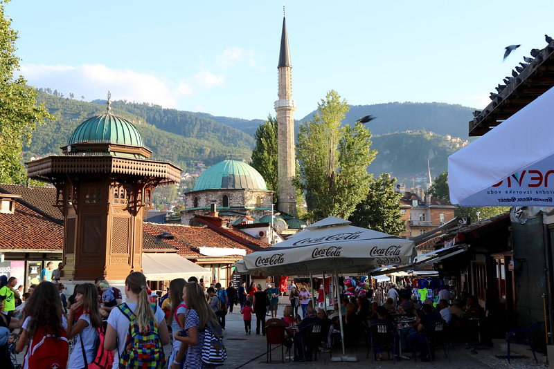 Sarajevo's main square in the Old City -Baščaršija
