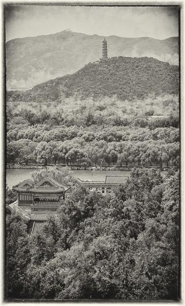 "Pagoda in Fog. 15""x25"""