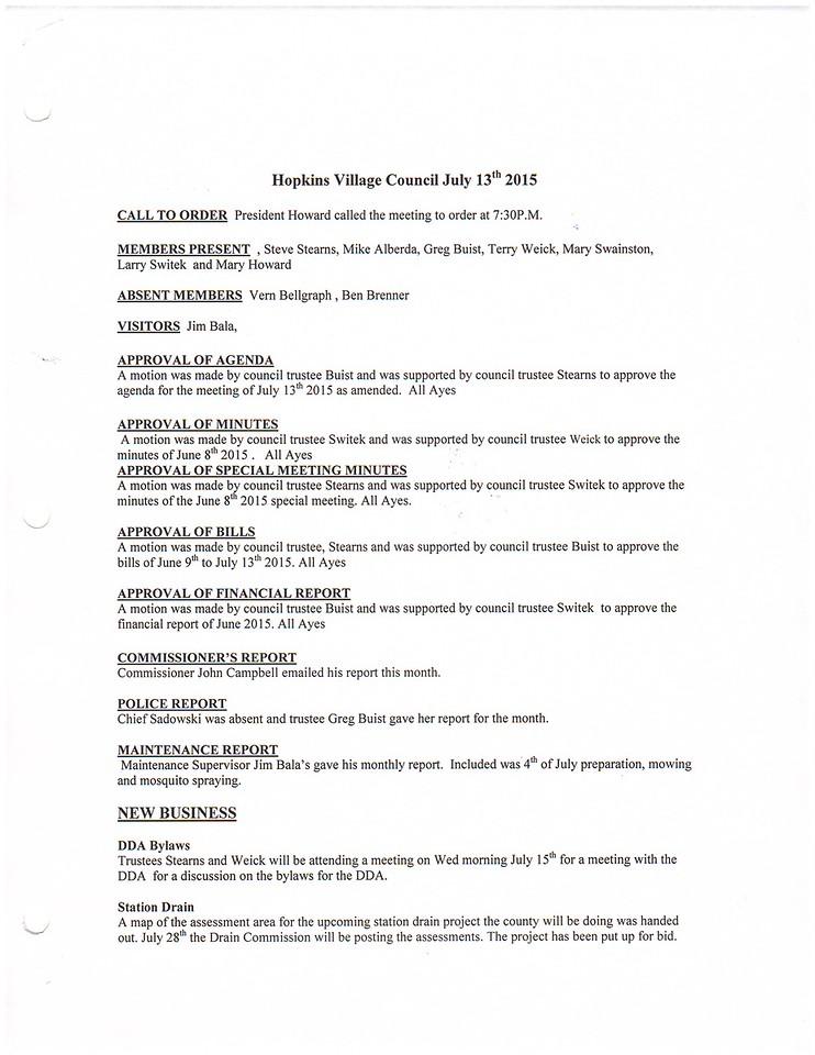 July 2015 Meeting Minutes pg 1