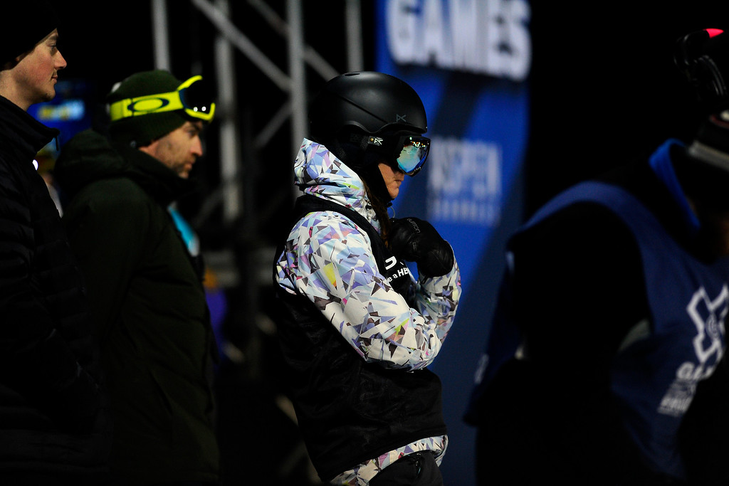 . Kelly Clark looks down the pipe before taking her first run at the Women\'s Snowboard Superpipe finals, Saturday January 24, Winter X Games 2015 on Buttermilk Mountain. Clark took the silver medal. (Photo By Mahala Gaylord/The Denver Post)