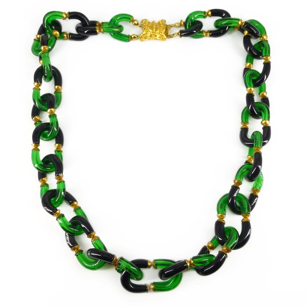 Vintage 1970s Archimede Seguso Black & Green Blown Glass Bead Link Necklace
