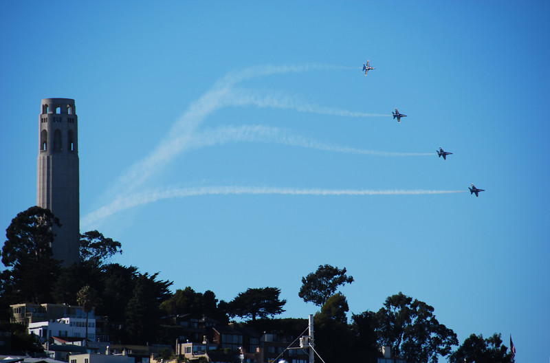 Blue Angels Emerge From Coit Tower  © 2007 Brian Neal