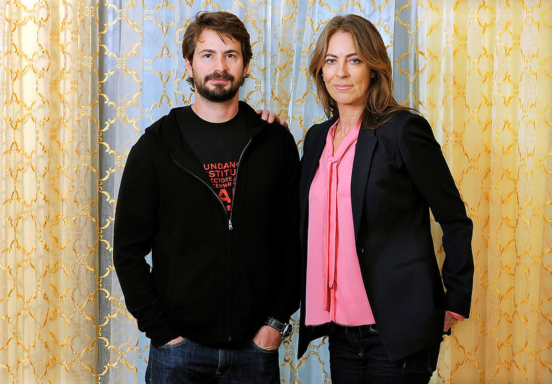 """. Screenwriter Mark Boal, left, and director Kathryn Bigelow during a photo call for their film \""""Zero Dark Thirty,\"""" in Beverly Hills, Calif. Bigelow was nominated Thursday, Dec. 13, 2012 for a Golden Globe for best director for the film and Boal was nominated for best screenplay.  The 70th annual Golden Globe Awards will be held on Jan. 13.  (Photo by Chris Pizzello/Invision/AP)"""