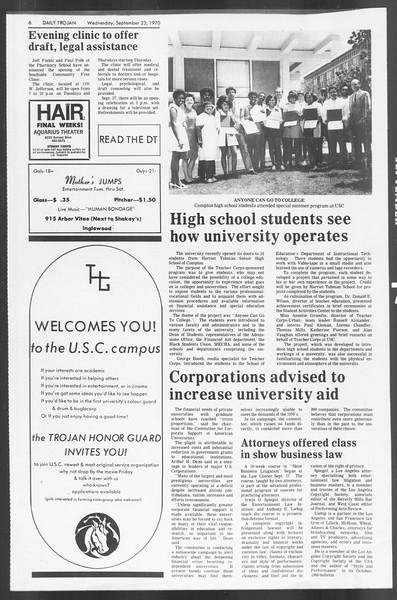 Daily Trojan, Vol. 62, No. 3, September 23, 1970