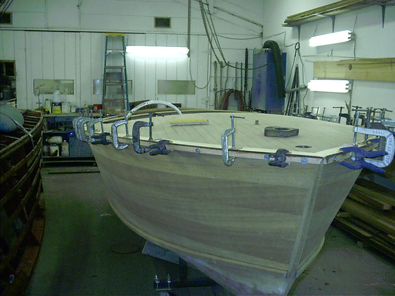 Front starboard view of gunnel glued in place.