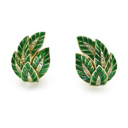 Vintage Trifari Green Enamel Rhinestone Leaf Clip On Earrings Sold Out