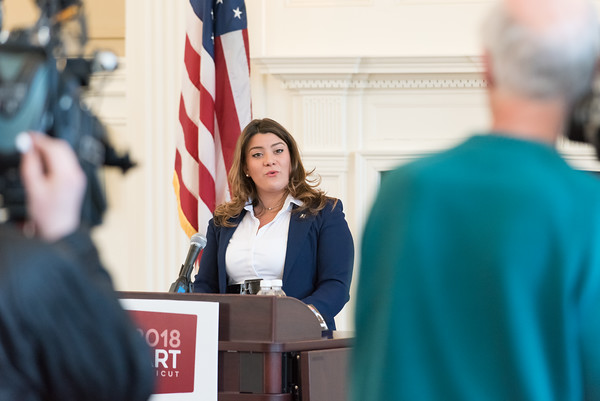 03/19/18 Wesley Bunnell   Staff New Britain Mayor Erin Stewart can be seen through television cameras as she addresses attendees at CCSU's Founders Hall on Monday at noon as she officially announced her candidacy for CT Governor for the 2018 election.