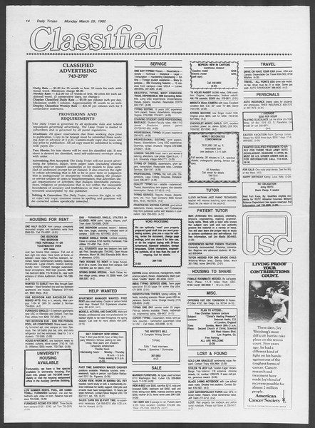 Daily Trojan, Vol. 91, No. 52, March 29, 1982