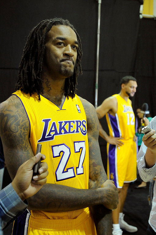 . Jordan Hill is interviewed. The Los Angeles Lakers held a media day at their El Segundo practice facility. Players were photographed for team materials, and interviewed by the press. El Segundo, CA. 9/27/2013. photo by (John McCoy/Los An8eles Daily News)