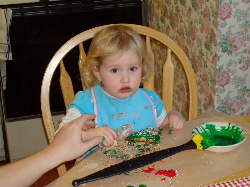 Beverly decorating Christmas cookies